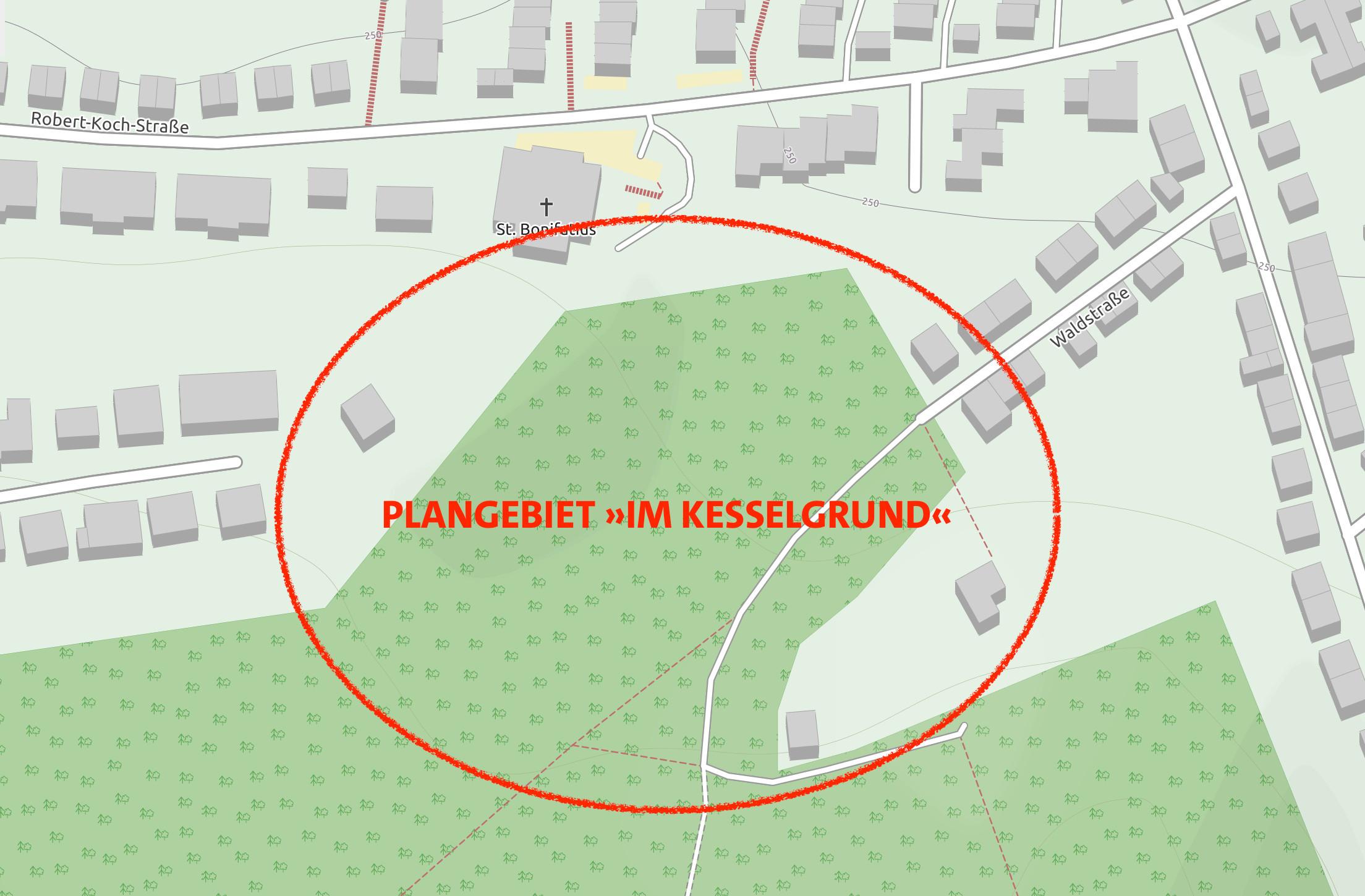 Karte des Plangebietes im Kesselgrund